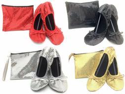 Shoes 18 Women's Foldable Sequins Ballet Flat Shoes w/ Match