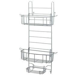 Shower Caddy Satin Chrome Over-The-Door Shelf Basket Storage