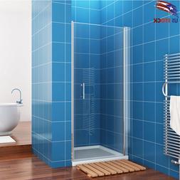 ELEGANT Shower Door Pivot Swing Clear Glass Door Chrome 28''
