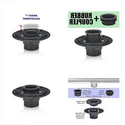 Shower Drain Base with Adjustable Ring + Rubber Coupler for