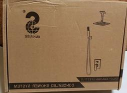 SR Sun Rise Shower Faucet System Brushed Nickel 12'' Luxury