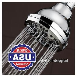 "Shower Head w/ 6 Setting Water Rainfall 3.5"" Adjustable Swiv"