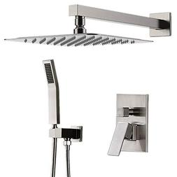 "STARBATH Shower System Brushed Nickel with 12"" Rain Shower a"