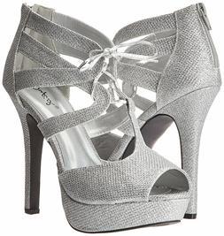 Silver High Heel Lace Up Sandal Platform Women's Bridal Form