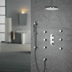 Brushed Nickel Bathroom Rain Shower Faucet System with 6 Mes