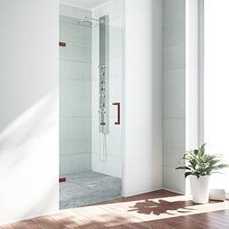 """VIGO SoHo 26"""" Frameless Shower Door, 5/16"""" Clear Glass/Oil R"""