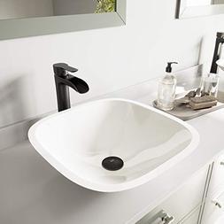 VIGO Square-Shaped White Phoenix Stone Vessel Bathroom Sink