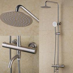 Stainless Steel Brushed Nickel Round Thermostatic Shower Sys