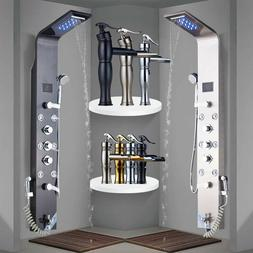 stainless steel rain and waterfall shower panel