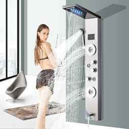 Stainless Steel Shower Panel Tower LED Rain&Waterfall Massag