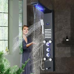 Stainless Steel Shower Panel Tower LED Rain Waterfall Massag