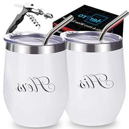 Stainless Steel Wine Tumbler with Lid, Straws and corkscrew.