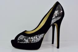 JIMMY CHOO Teton Silver SEQUINS And Black Soft SUEDE Platf