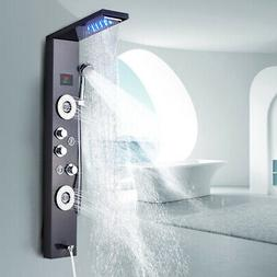 ELLO&ALLO Shower Panel Tower LED Rainfall Waterfall Massage