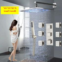 Thermostatic Brushed Nickel Shower Faucet Wall Mount Massage