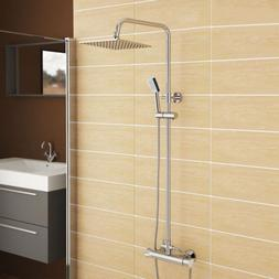 LED Thermostatic Shower Set Bathroom Mixer Chrome Twin Handl