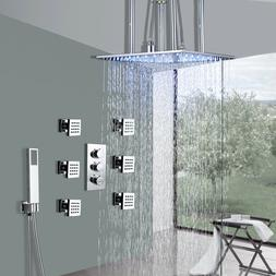 Thermostatic Rain Shower Faucet Combo 6 Massage Jets With Ha
