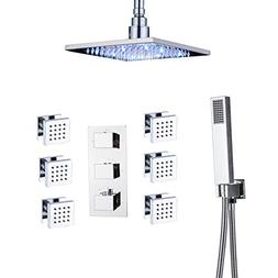 Rozin Thermostatic Shower Faucet Set Ceiling Mounted 8-inch