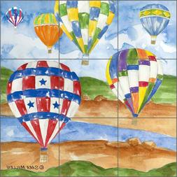 Tile Mural Backsplash Ceramic Mullen Hot Air Balloons Art Ki