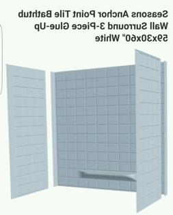 Tub Surround 3 Piece Tiled Bath Tub Shower Wall Enclosure Wh