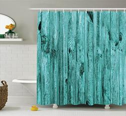 Ambesonne Turquoise Decor Shower Curtain Set, Wall of Turquo