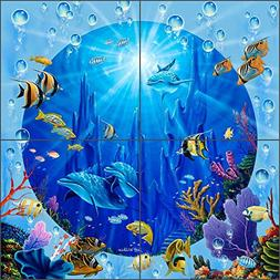 Undersea Art Tile Mural Backsplash Dolphin Castle II by Jeff
