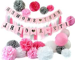 Unique Pink and Silver Baby Shower Party Decorations Set! It