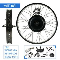 "26"" 48V 1000W Fat Tire Front Wheel w/ LCD Electric Bicycle E"