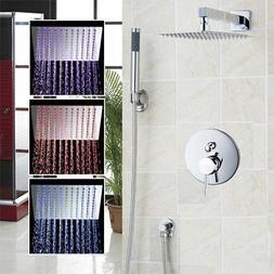 "Wall Mount 12"" LED Thin Bathroom Shower Head Mixer Taps & Ha"
