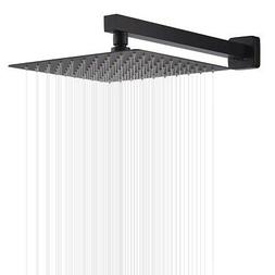 Wall Mounted 16 Inch Rainfall Shower Head Matte Black Colors