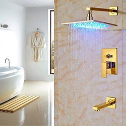 "Rozin Wall Mounted 2-way Control LED Light 10"" Rain Showerhe"