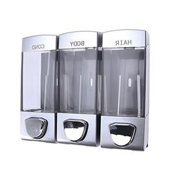 OUNONA Wall-mounted Shampoo Dispenser Soap Gel Dispenser with Three Outlets for Bathroom Shower
