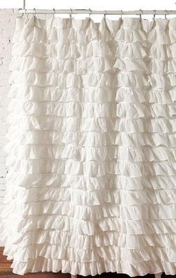 waterfall WHITE  Ruffled Shower Curtain