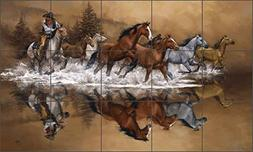 "Western Cowboy Ceramic Tile Mural Backsplash 21.25"" x 12.75"""