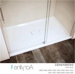 Acryline White Gloss Alcove Low Threshold Shower Bases w/Til