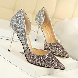 Women Classic  Pumps Gradient Shallow Stiletto Glitter High
