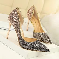 Women Classic Pumps Gradient Shallow Stiletto Glitter High H
