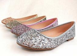 Women Fashion Glitter Dress Flat Shoes Brilliant Sequin Cute