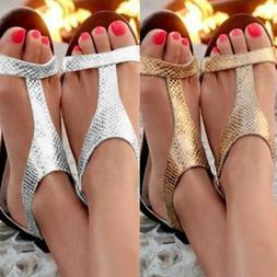 Women Low Heel Flat Sandals Flip Flop Slingback Toe Post Sum