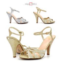 Women Open Toe Rhinestone High Heel Sandals Wedding Prom Par