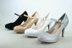 Women's Ankle Strap Round Closed Toe Stiletto Heel Platform