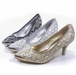 Women's Comfort Point Toe Low High Heel Pump Wedding Party S