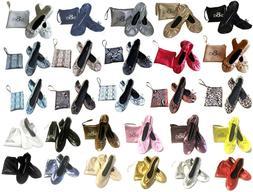Women's Foldable Portable  Ballet Flat  Shoes w/ Matching Ca