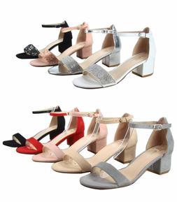Women's Low Chunky Heel Open Toe Ankle Strap Buckle Sandal S