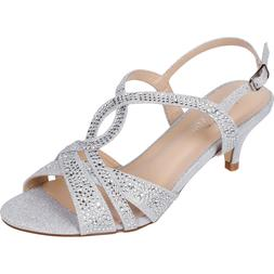 Women's Silver Dress Shoes Low Heel Sandals Wedding Rhinesto