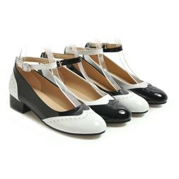 Women Saddle Shoes Black And White Oxford Shoe Buckle Ankle