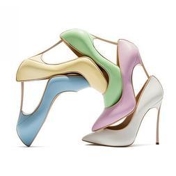Women Slim High Heel Pointed Toe Pumps Slip On Solid Court S