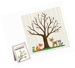 woodland baby shower guest signing canvas neutral